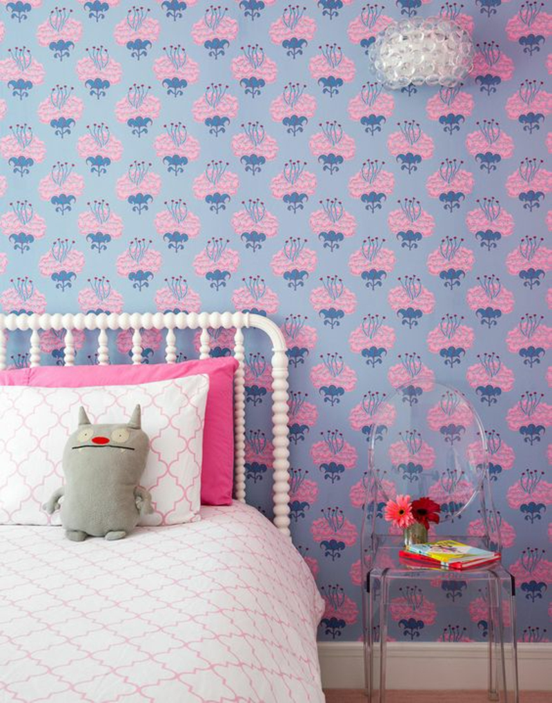 Pattern wallpaper pink floral wallpaper for kids room frame
