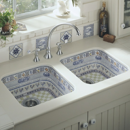 modern kitchen set up kitchen sink sink double pattern