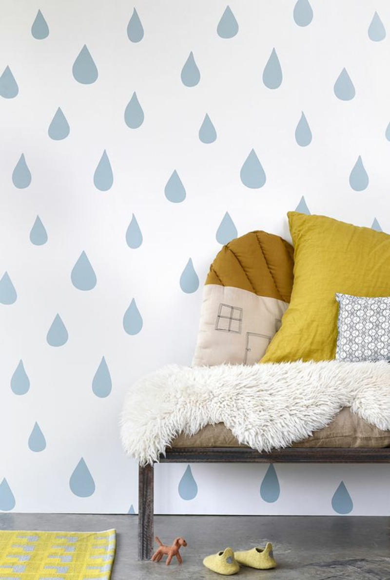 Pattern wallpaper raindrops blue wallpaper kids room design
