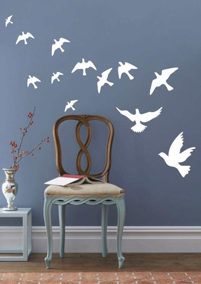 Wall decals white birds blue walls