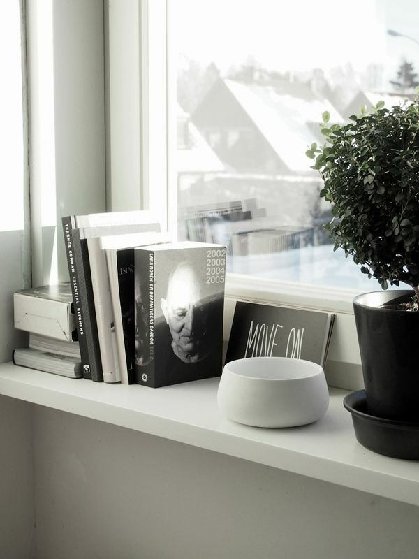 windowsill decor books arrange plant