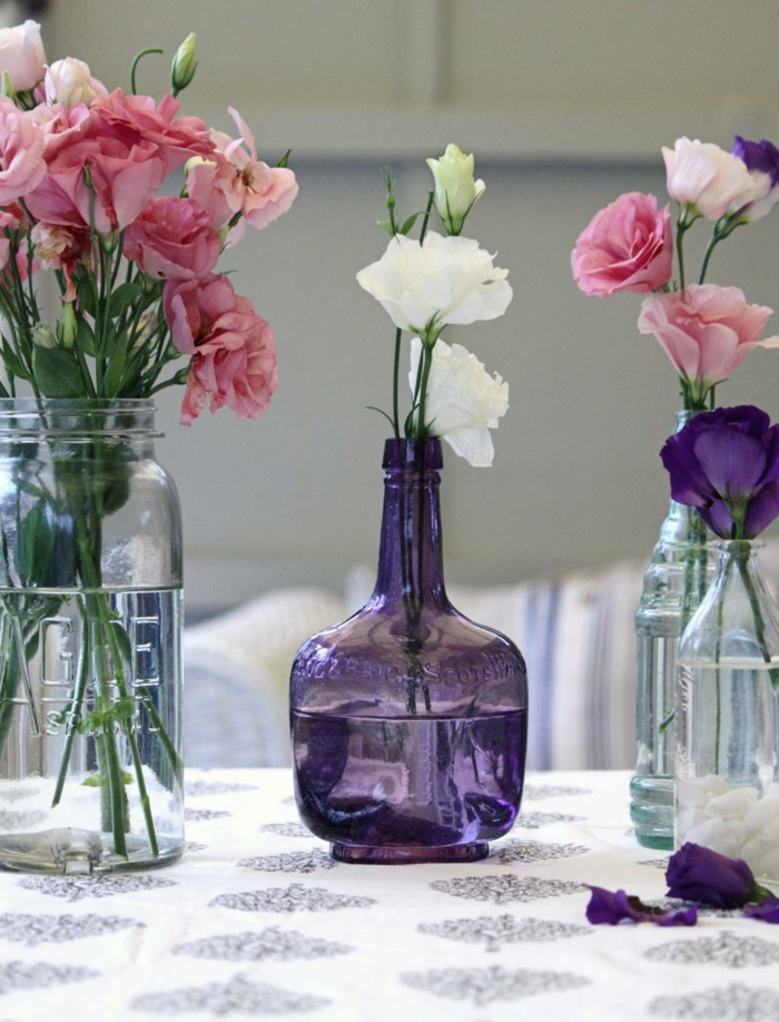 deco bottles glass bottles floral decoration table ideas