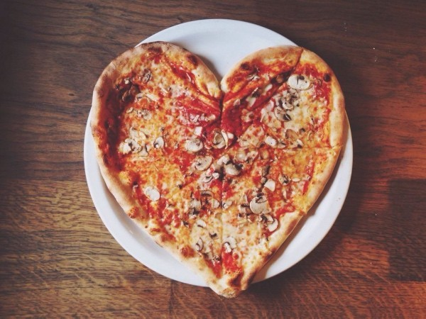 Valentine's Day for two celebrate pizza in heart shape