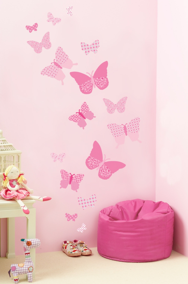 kids room wall stickers pink butterflies toys