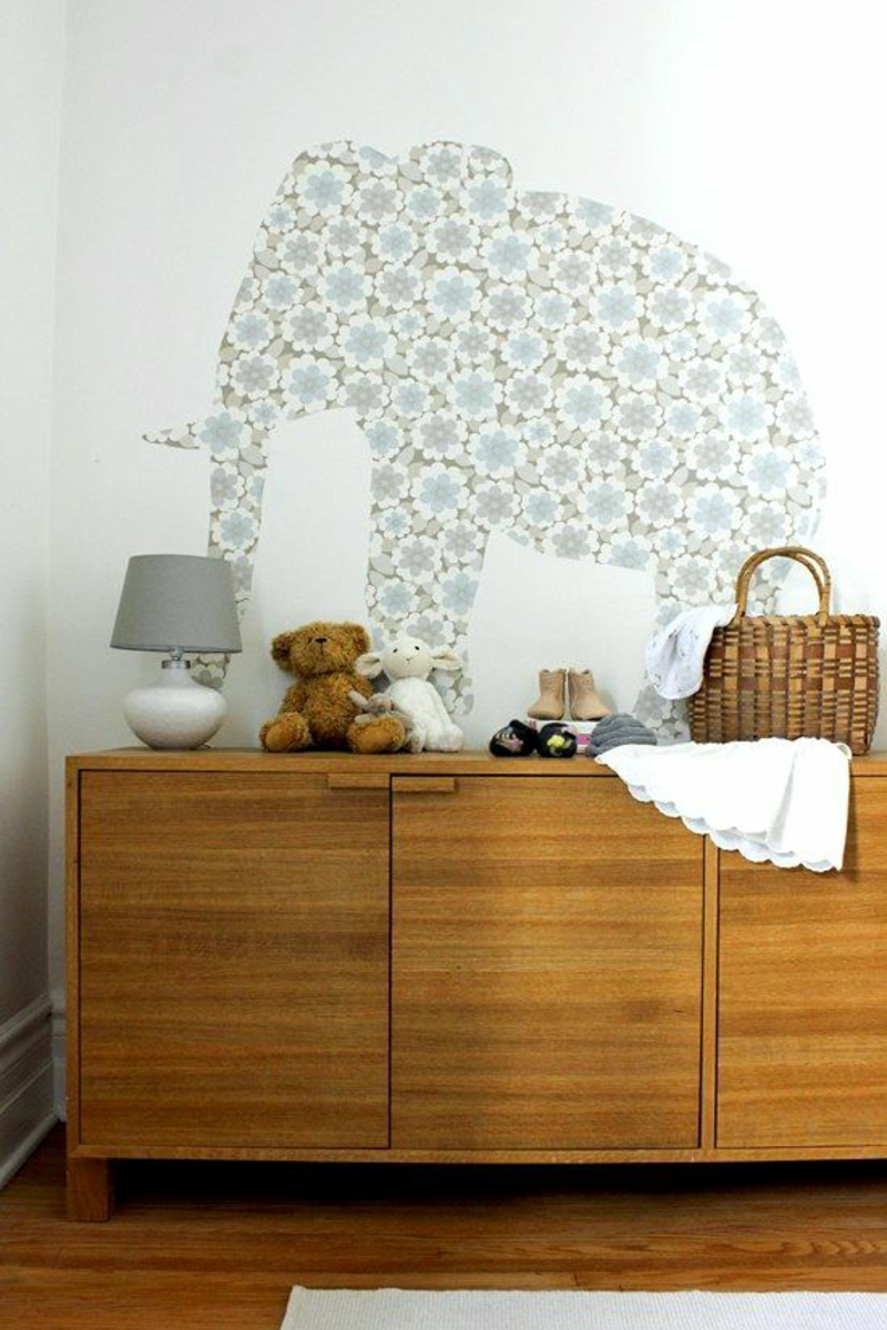 Wallpaper Nursery design pattern wallpaper Elephant floral design