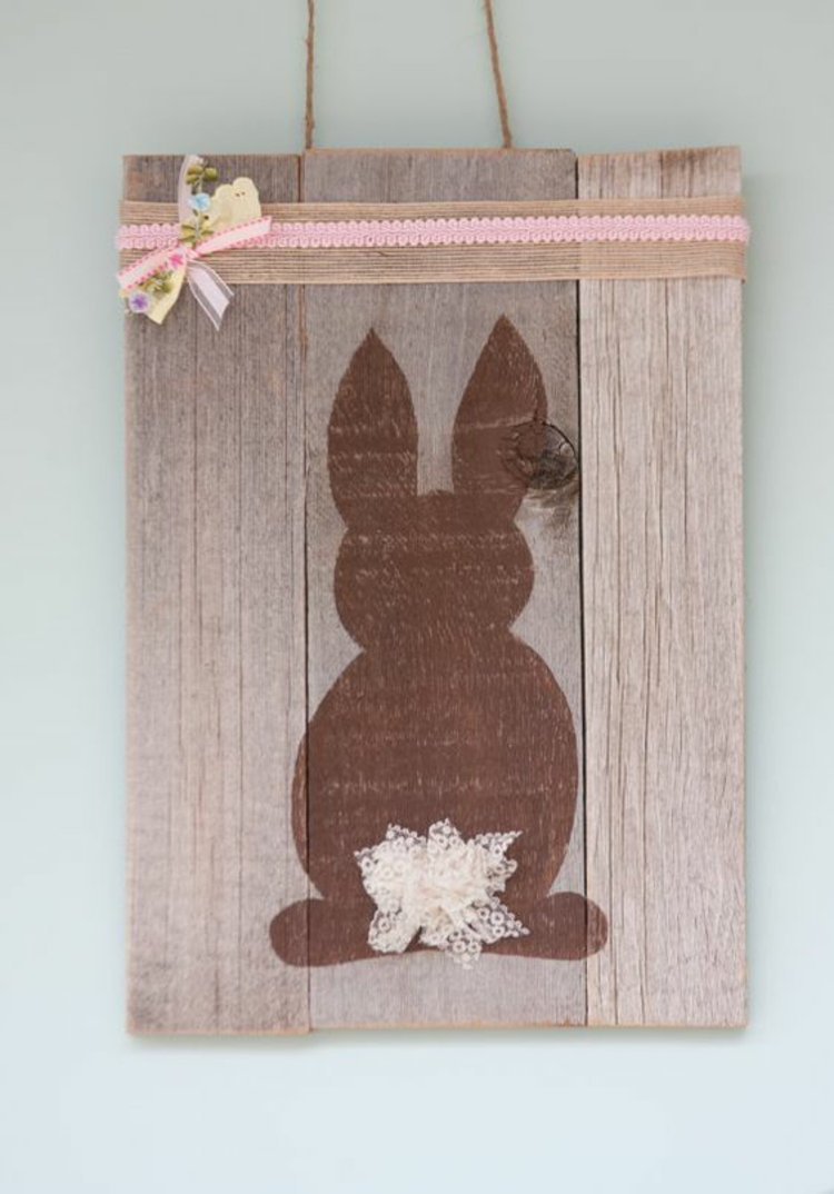 Easter decoration made of wooden decoration Easter decoration Ideas hare silhouette painted