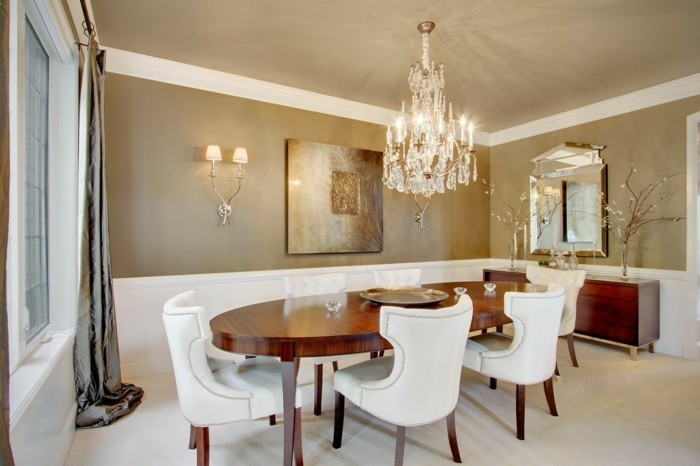 wall decoration ideas dining room decoration oval dining table luxurious curtains