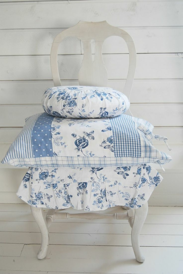 country style throw pillow blue white combination