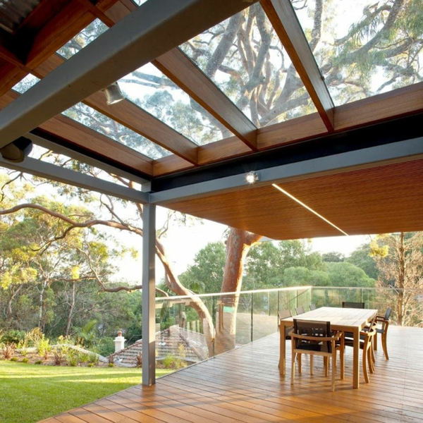 glass roof terraces wood exterior