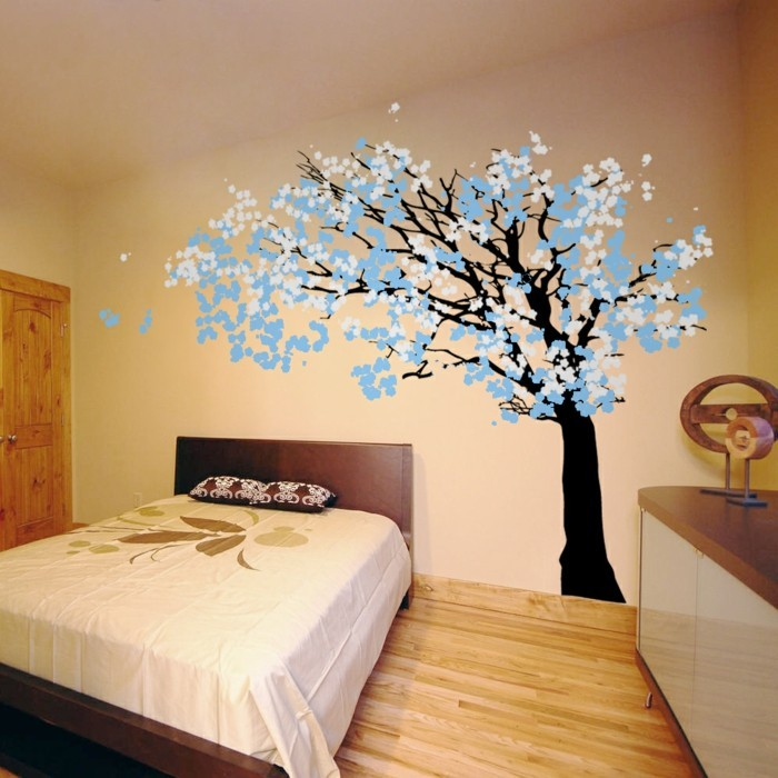 wall decals tree decorating bedroom blue accents