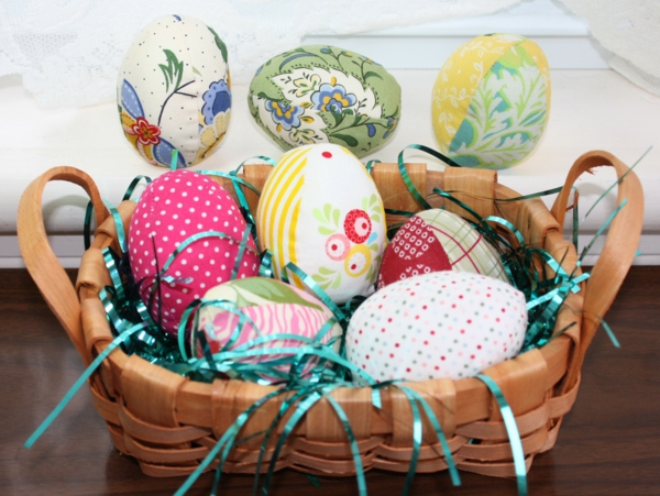 decorating easter colored easter eggs sewing