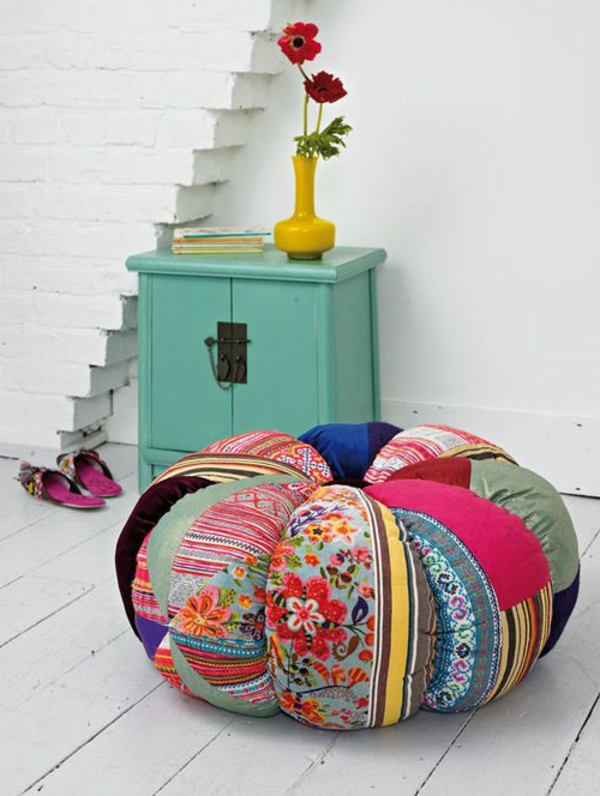 patchwork fabric comfortable colored stool