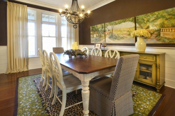 Dining room wall design with pictures