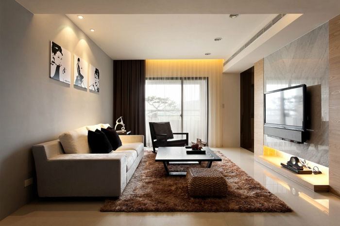 living room decoration brown carpet wall decor recessed lighting