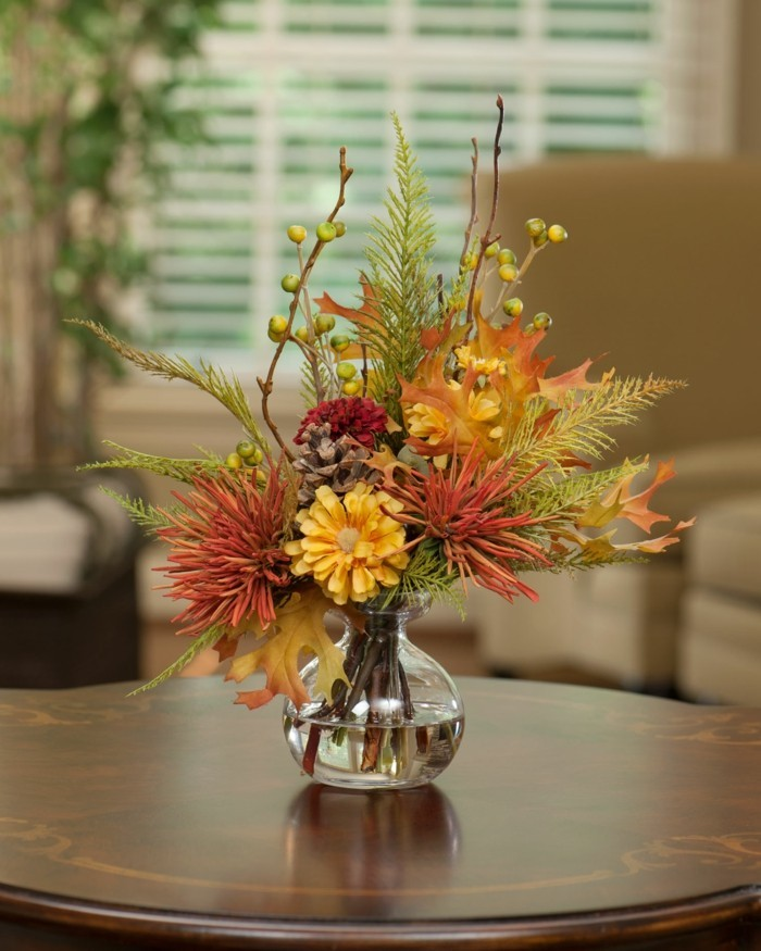 table decoration simple deco ideas with glass vases and autumn flowers