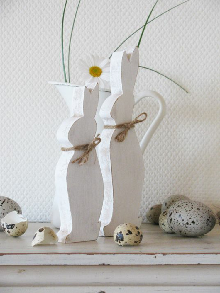 Wooden Easter decoration Deco products Easter decoration Ideas Easter bunny wood white