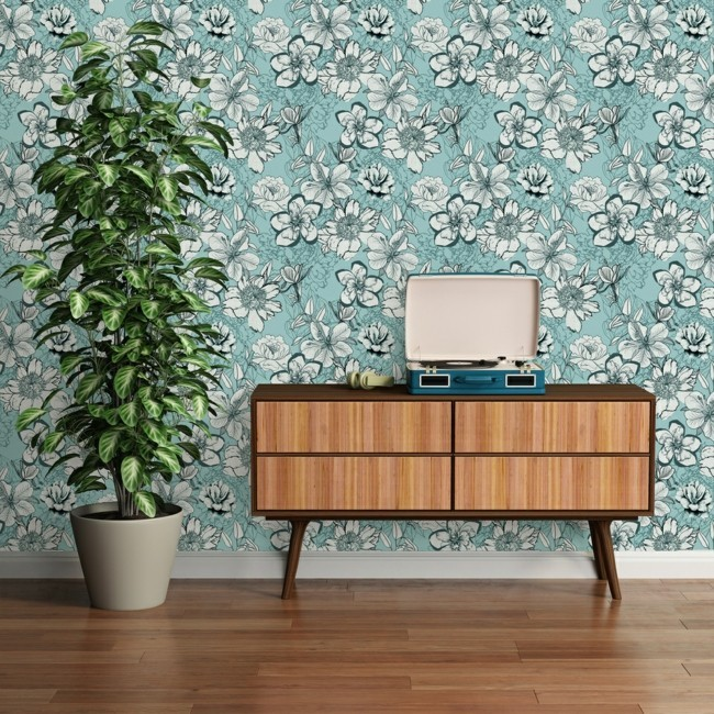 floral wallpaper stylish look