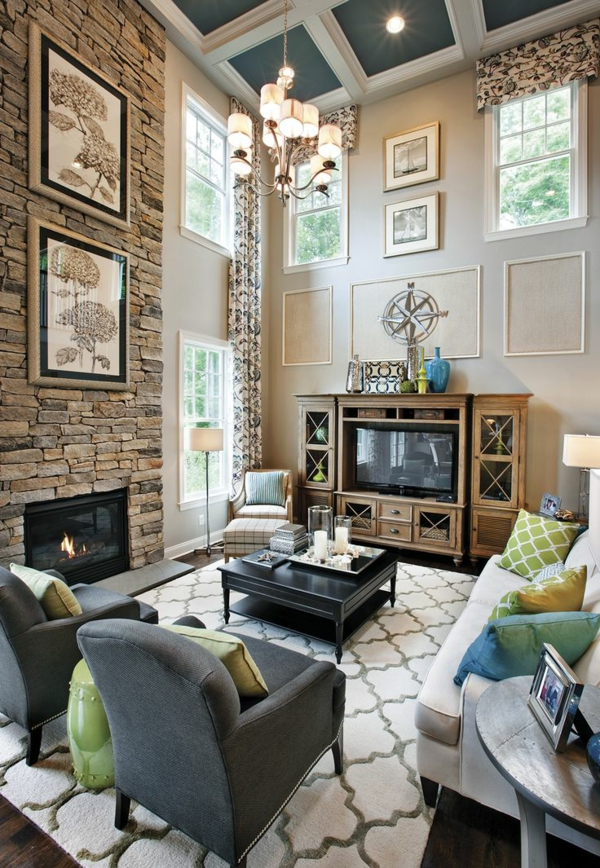 stone wall accent wall living room pictures hanging candelabra