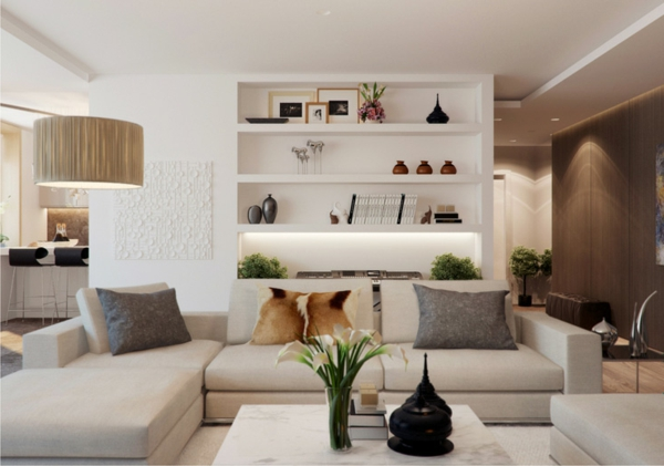 gorgeous modern living room designs couch table shelves
