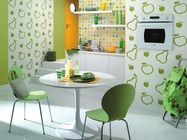 wallpaper pattern kitchen fruits thematic green kitchen chairs