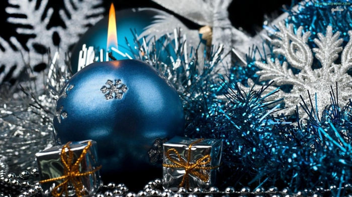 Christmas decorations blue silver