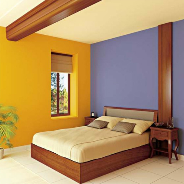 purple yellow color combination bedroom