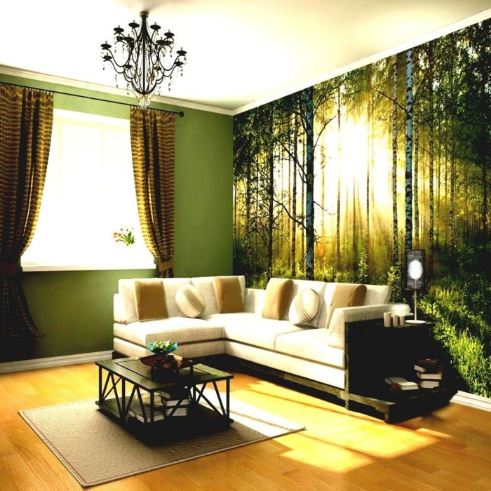 deco ideas living room wall decor curtains green wall paint
