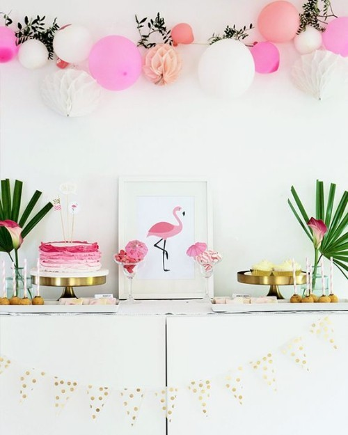 cupboard with paper decoration flamingo decoration