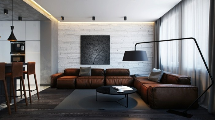 brown leather sofa in scene 9