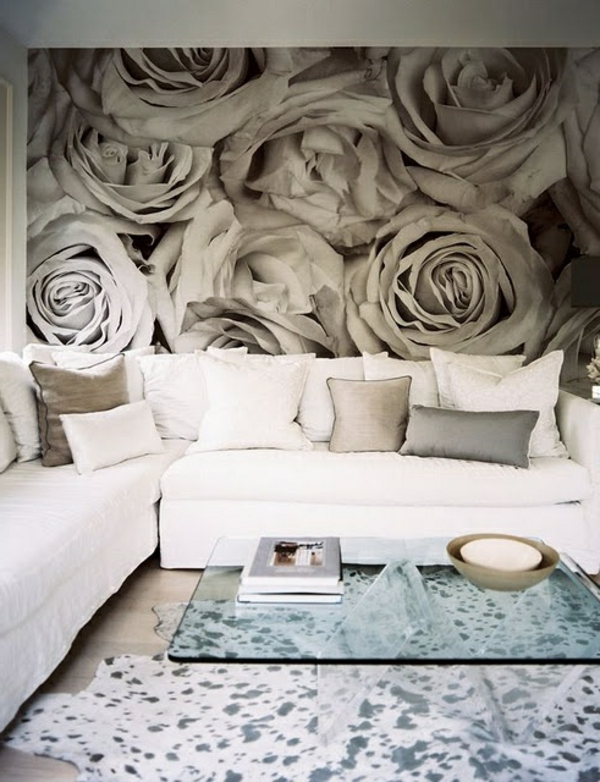Living room wallpaper wallpaper roses