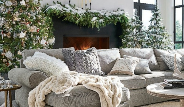Rustic Christmas decoration with textiles and furniture