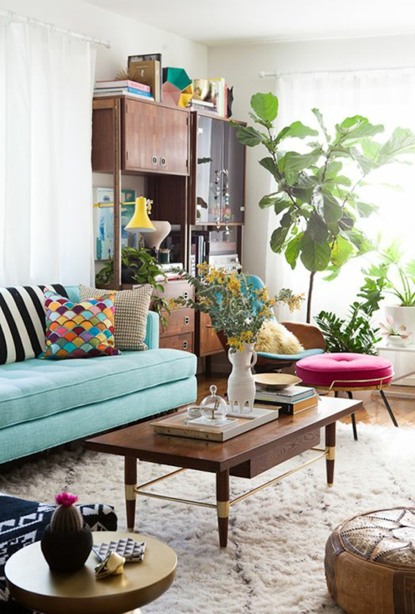 Living room with green plants