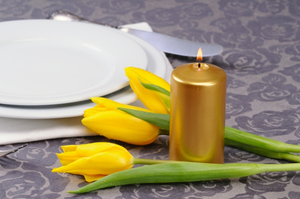 spring flowers tinker yellow tulips candle