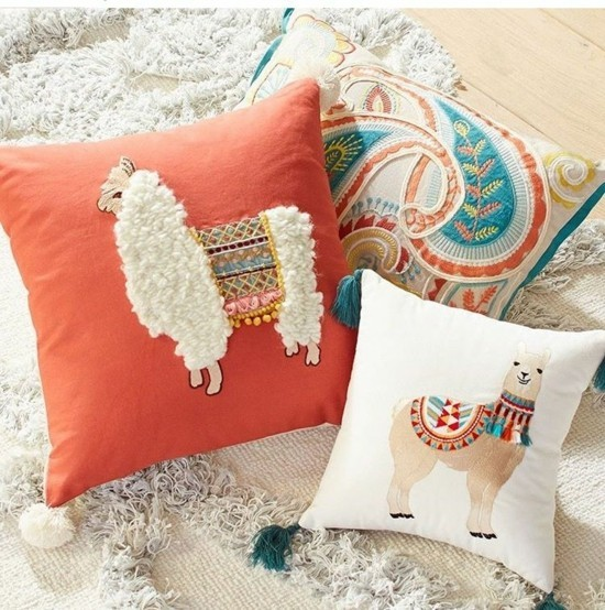 Throw pillow with llamas as a room and birthday decoration