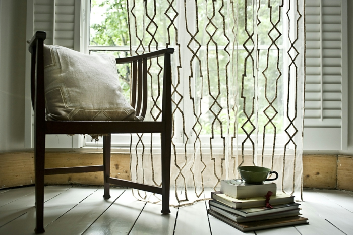 curtains curtains transparent geometric patterns