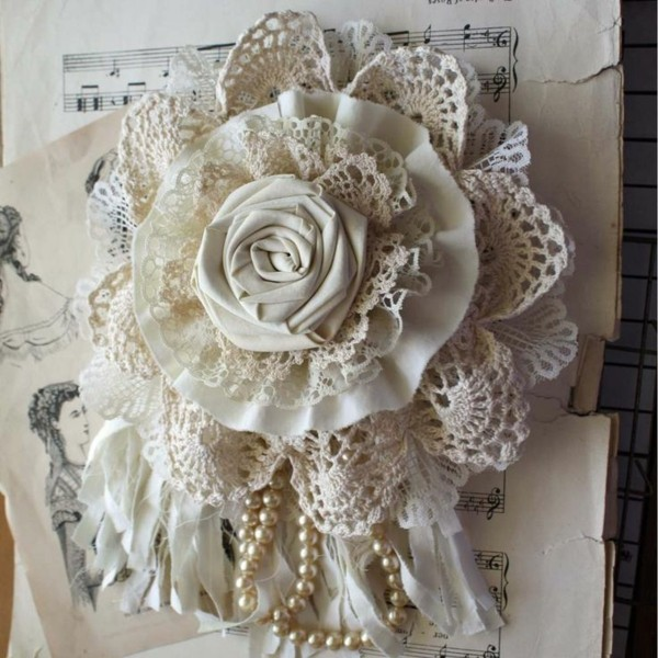 make lace fabric roses shabby chic deco yourself