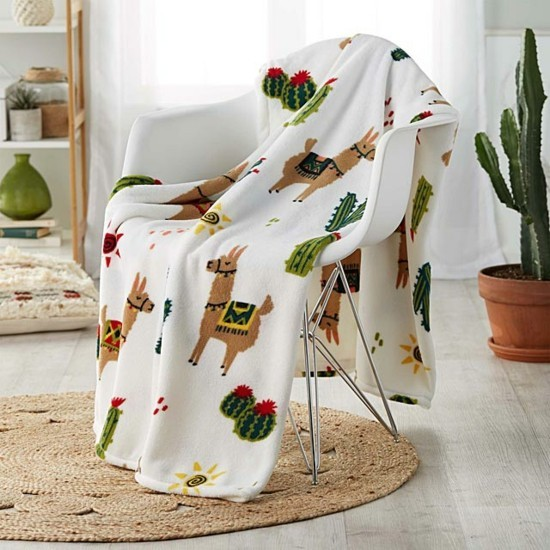 bedspread with lamas and cacti as gift idea and birthday decoration