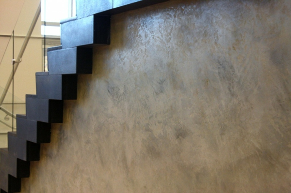 Wall paint with concrete look staircase