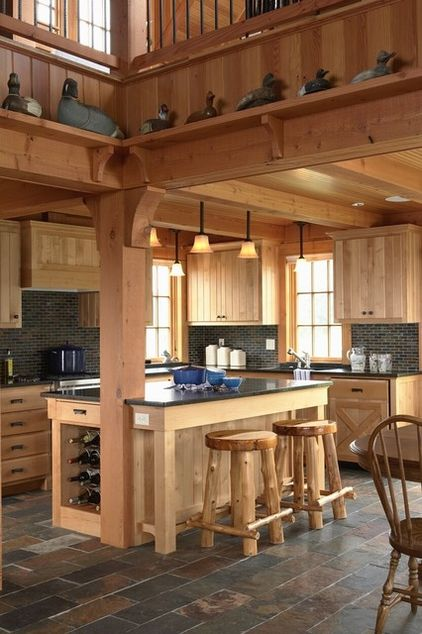Kitchen beams wood table chair wall