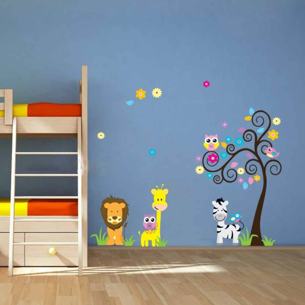 wall painting nursery animals high bed