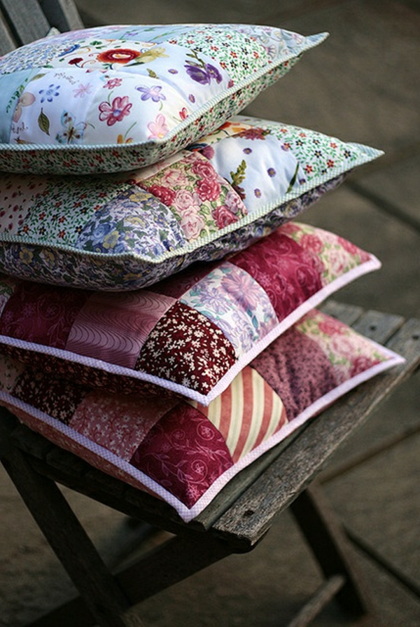 patchwork fabrics throw pillow two-sided fresh pattern