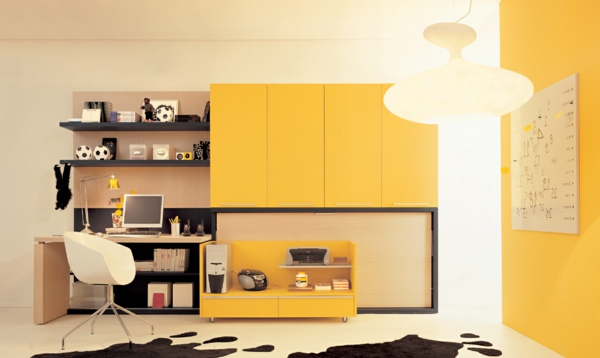 modern youth room yellow furnishing