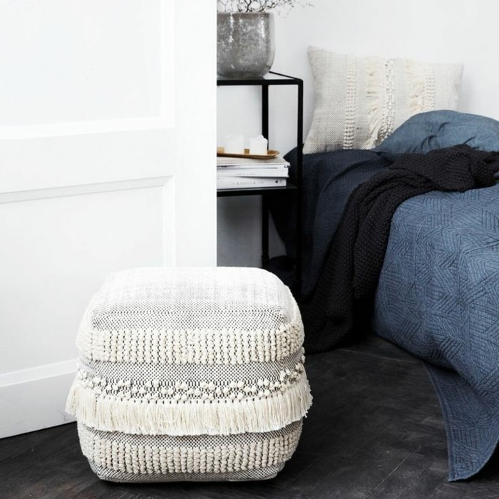 house doctor pouf with fringed bedroom