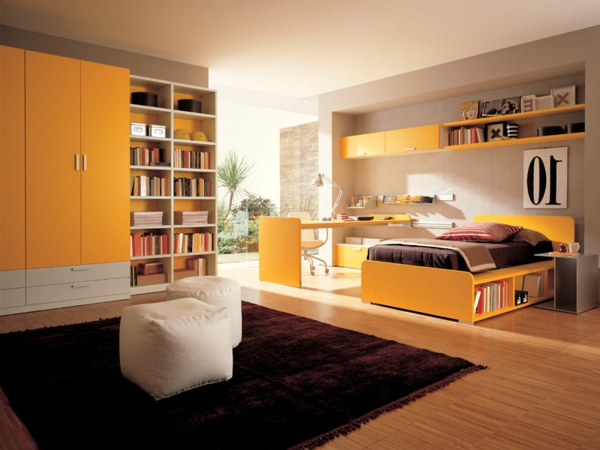 youth room modern fashion orange accents