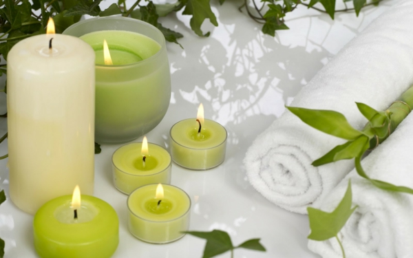 beautiful deco green candles flame