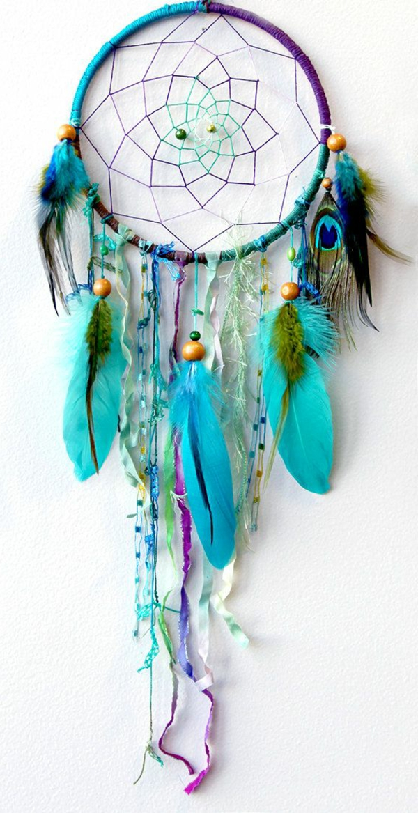 dream catcher make yourself blue feathers wooden beads