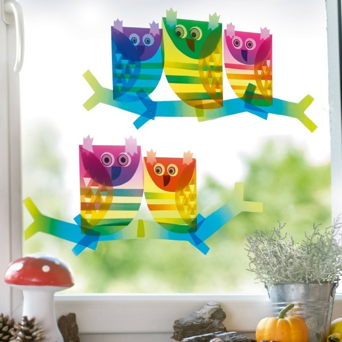 Make window pictures with children owls3
