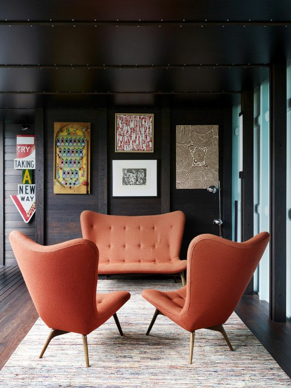 Interior living room orange sofa