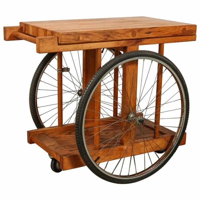 garden table made of wood and bicycle parts