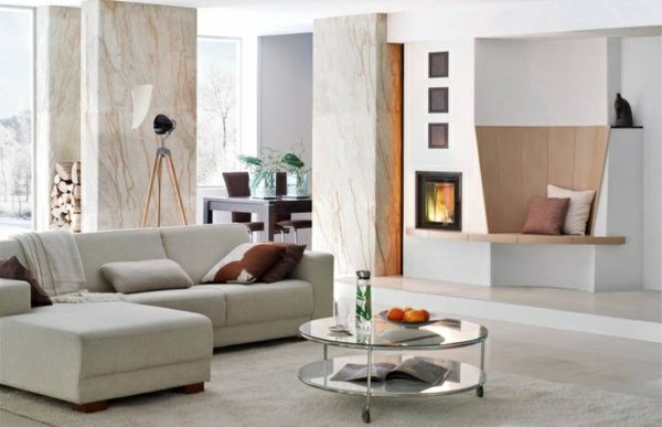 modern tiled living room design furniture fireplace